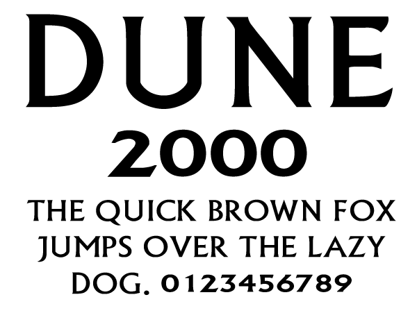 Dune 2000 Logo Font on ally house